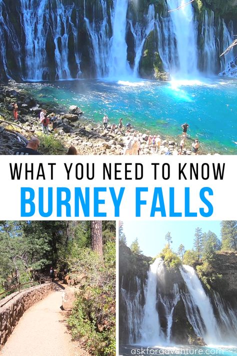 Burney Falls Northern California is located in McArther Burney Falls State Park right outside Burney Ca. It is the Eight wonder of the world and amazing. California Vacation, Northern California, Burney Falls, Oh The Places You'll Go, Places To Travel, Tattoo Studio, Beautiful Waterfalls, Destinations, San Francisco Travel