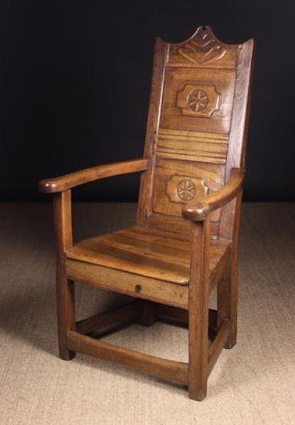 A Unusual 18th Century Elm Walnut High Panel Back Armchair Mellow Colors Armchair Bird Stand