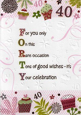 2 29 Gbp Female 40th 40 Birthday Cards Poetry In Motion Glitter Greeting Card Nice Verse 40th Birthday Cards 40th Birthday Poems Birthday Verses For Cards