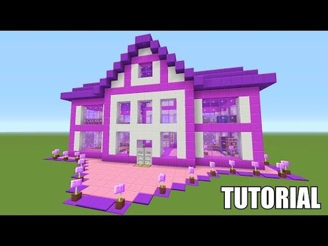 Minecraft Tutorial How To Make A Barbie Dream House Survival House Ash 39 Youtube With Images Barbie Dream House Cute Minecraft Houses Minecraft Houses