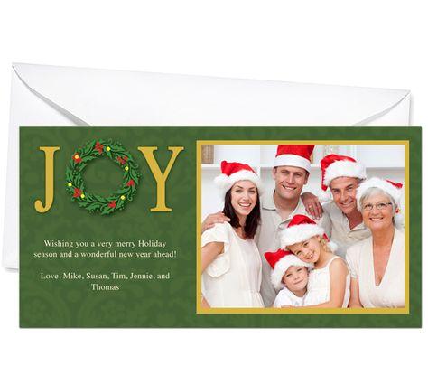 Photo Cards : Joy Christmas Holiday Photo Card Template