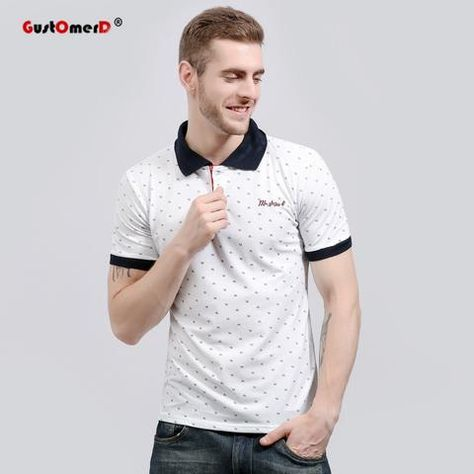 bcd276e8dfff GustOmerD 2018 New Fashion Brand Men Polo Shirt Floral Print Short-Sleeve  Slim Fit Polo Mens Shirt Men Polo Shirts Casual Polo