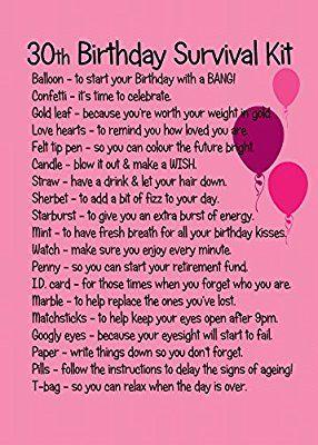 30th Birthday Survival Kit Pink Amazon Co Uk Toys Games Birthday Survival Kit 60th Birthday Ideas For Mom 60th Birthday Gifts