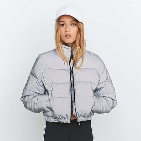 9bb87805d9f3 Selling silver grey fila reflective cropped puffer jacket