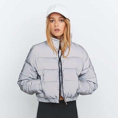 09048071eb957 Selling silver grey fila reflective cropped puffer jacket