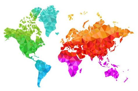 Geometric World Map in Colors by Albert Does Stuff on Creative Market: