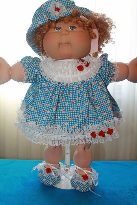 Cabbage Patch Doll Cloths -Blue Dress, Panties, Hat and Shoes- fits 16