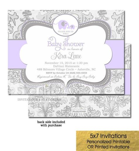 Lilac Elephant Baby Shower Invitation