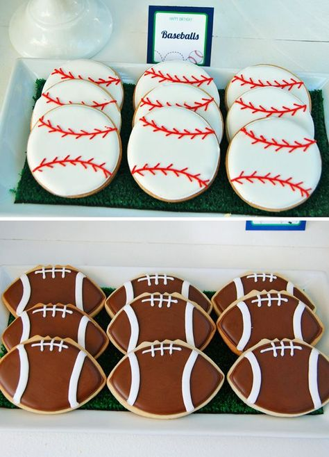 Sports Theme Birthday Party Ideas - Baseball and Football Sugar Cookies
