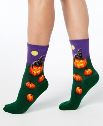 Hot Sox Women/'s Cat Witch Socks