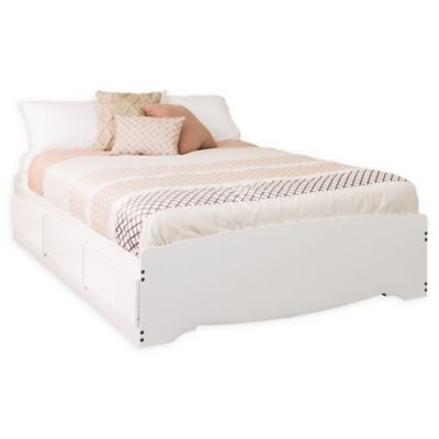 Prepac Mates Full Platform Storage Bed With 6 Drawers In White