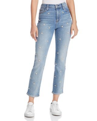 7 For All Mankind Edie Embellished Crop Straight Jeans In Luxe