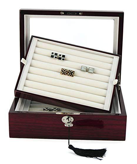 72 Cufflink Storage Box Cuff Links Jewelry Display Wood Case Ring Storage Wood Case Jewellery Display