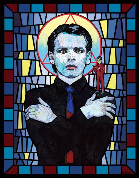 """Gary Numan - New Wave Saints Series (11x14in. Acrylic, gouache, and ink on stonehenge paper. 2015) $15 8x10"""" prints available at mlinehamart.bigcartel.com"""
