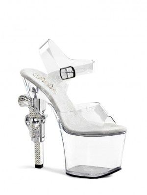 2d316805f Sexy Clear Stripper Shoes with Gun Heels by Pleaser Shoes main image ...