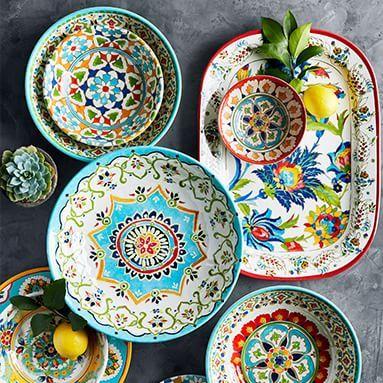 Gorgeous Melamine Outdoor Dinnerware In All Colors And Patterns Melamine Melaminedishes Outdoorentertain Outdoor Dinnerware Melamine Dinnerware Iznik Tile