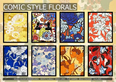 Textile candy: Premiere Vision Spring/Summer 2016 comic book style, outline floral, 70's floral