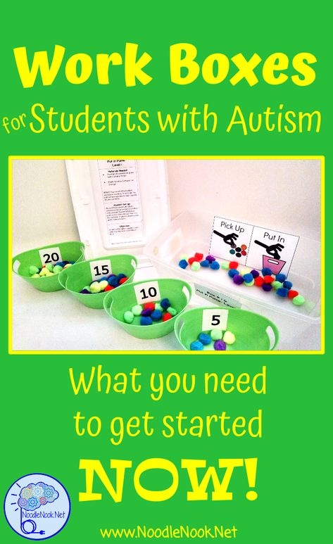 Work Boxes in Autism Classrooms- TEACCH Work System | NoodleNook
