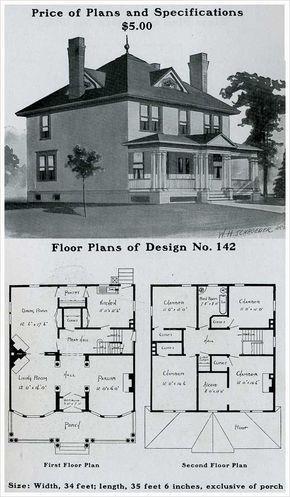 Radfor Homes Plan No 142 1903 Colonial Revival Plan Square House Plans Four Square Homes Dream House Plans