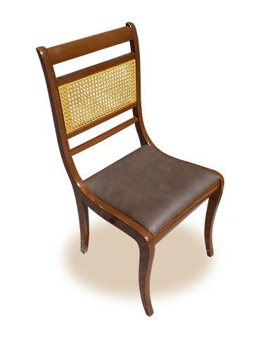 Silla de comedor, tapizada en polipiel marrón. | Sillas ...