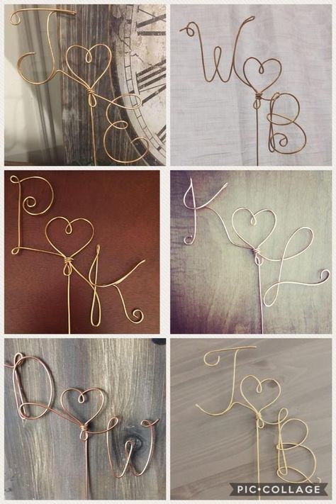 Custom Wedding Cake Topper Wire Rustic Country Initials Heart   Etsy