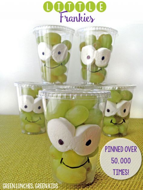 Little Frankies: A healthy Halloween Class Snack idea from Green Lunches, Green Kids! Pinned over 50,000 times!