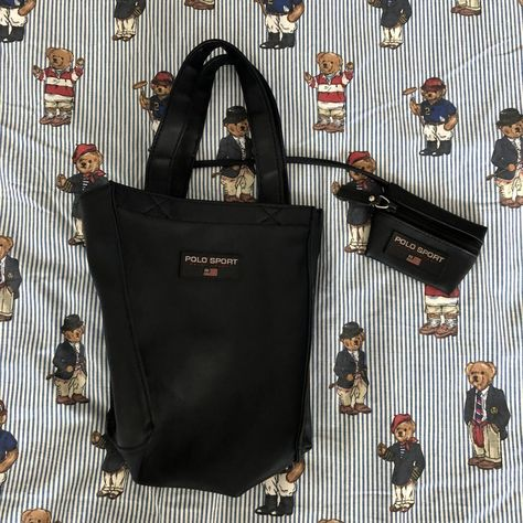 Vintage Navy Ralph Lauren Polo Sport Tote Bag With Matching Purse ... 6a33168e0546e