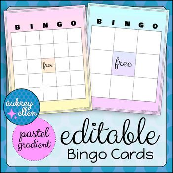 This Set Features 5 Editable Bingo Card Designs In A Pastel Gradient Theme Available In 2 Layouts 5 Bingo Cards Blank Bingo Cards Student Centered Activities