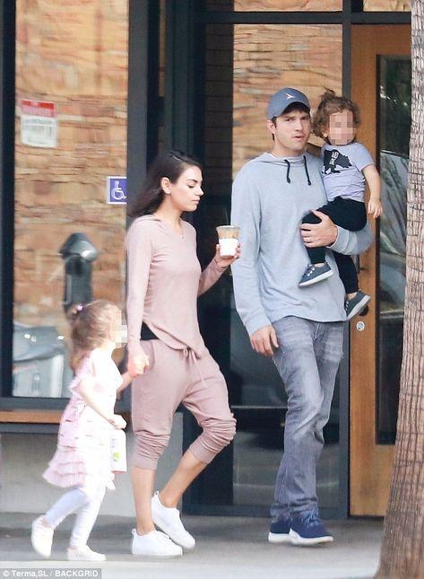 Family breakfast: Mila Kunis and Ashton Kutcher were seen taking their kids to breakfast a...