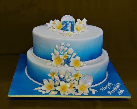 Astonishing Cool Blue Ocean 21St Birthday Cake 21St Birthday Cakes Birthday Personalised Birthday Cards Xaembasilily Jamesorg