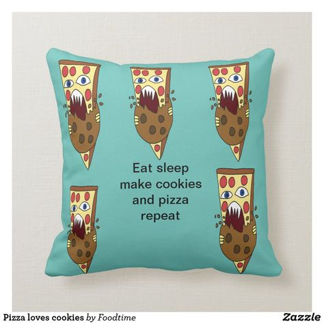 Pizza loves cookies throw pillow