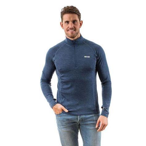 EDZ Men/'s Merino Wool T-Shirt Denim Blue 200g