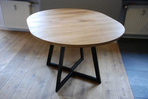 Een Uitschuifbare Ronde Tafel Handgemaakt Op Bestelling Een 32mm Dikke Eik Of Andere Ho Round Extendable Dining Table Round Dinning Table Dinning Table Wood