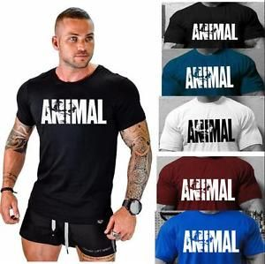2018 New Men/'s Animal Fitness Cotton O-Neck Gym Muscle Bodybuilding T-shirt Tee