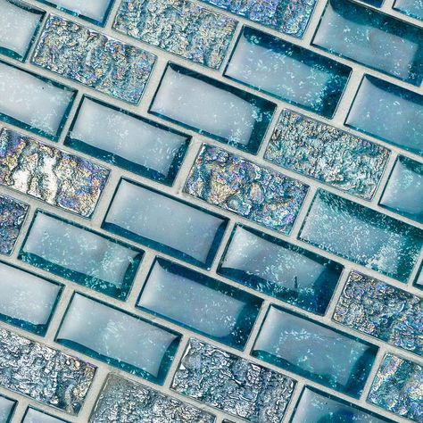 Ivy Hill Tile Marina Iridescent Aqua Brick 11 in. x 11 in. 8 mm Glass Mesh-Mounted Mosaic – The Home Depot – Tile