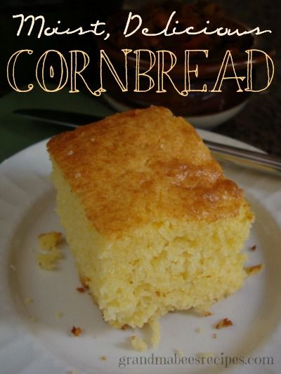 Moist Delicious Cornbread - not dry and crumbly like most other cornbread!