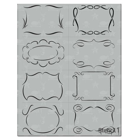 This 8 Pack Borders stencil gives you multiple stencils all cut on one sheet for all your creative projects. 8 Smaller sized flourish border stencils in one package! Each measures approximately 4 x 2 Color: White. Border Multipack - Stencil x White Bullet Journal Writing, Bullet Journal Inspiration, Flourish Border, Doodle Borders, Shape Crafts, Art Crafts, Detail Art, Stencil Designs, Chalkboard Art