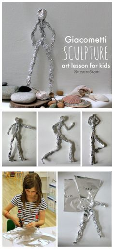 Giacometti art lesson plan, easy sculpture project for children, online art less. - Giacometti art lesson plan, easy sculpture project for children, online art lessons for kids pr - Easy Art Projects, School Art Projects, Projects For Kids, Crafts For Kids, Easy Art For Kids, Children Art Projects, Art Project For Kids, Art Education Projects, Summer Art Projects
