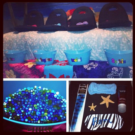 Birthday party kids island spa day with orbeez foot soak ... girl spa party ideas, relax, facial, pedicure for kids