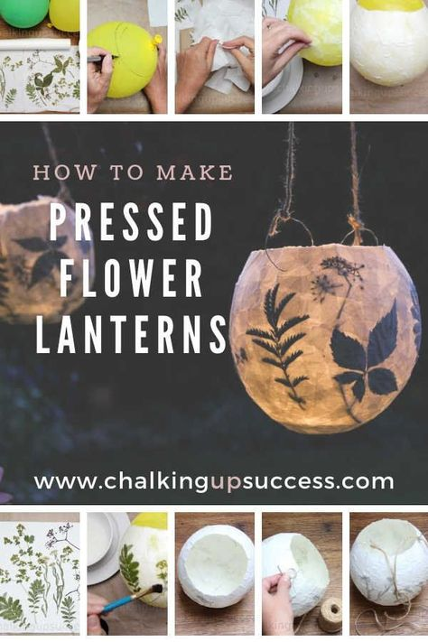 Create a cosy atmosphere and add extra special light to your home or patio, Follow these step by step instructions for making papermache pressed flower lanterns. Make them with your kids and create memories that will last forever. #lanterns #pressedflowers #pressedflowerlanterns #homedecor #diy #autumndecor #falldecor #kidscrafts #diy outdoor lanterns How to make beautiful pressed flower lanterns - Easy DIY