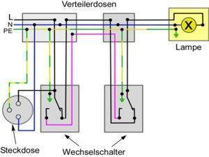 Wechselschaltung Mit Steckdosen Wechselschaltung Mit Steckdosen The Post Wechselschaltung Mit Steckdosen Appeared Fir Schaltplan Steckdosen Elektroinstallation