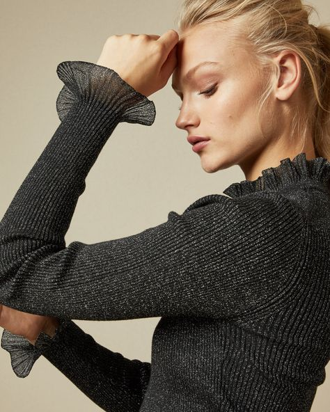 Frill neck detail ribbed lurex jumper - Black   Sweaters   Ted Baker