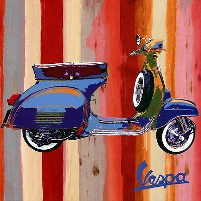 Retro Orange Vespa Scooter Canvas Stretched Wall Art Poster Print Lambretta Bike