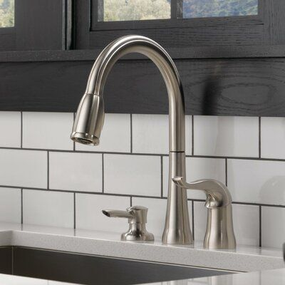 Delta Kate Pull Down Single Handle Kitchen Faucet With Diamond