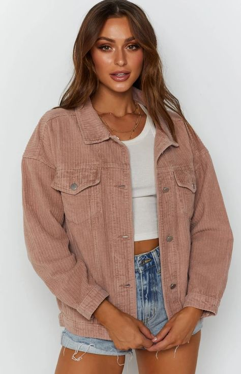 Courdoroy Jacket, Brown Jacket Outfit, Utility Jacket Outfit, Cute Jean Jacket Outfits, Date Outfits, Outfits For Teens, Trendy Outfits, Fashion Outfits, Girl Outfits