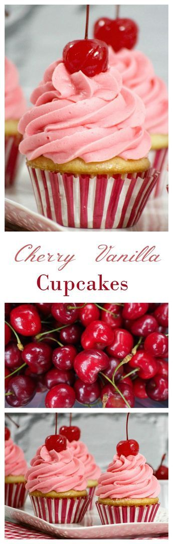 Canada Day Recipe: Cherry Vanilla Cupcakes Looking for the perfect Canada Day recipe for your dessert table? These cherry vanilla cupcakes aren't just delicious, they look festive & fun too! Cookies Cupcake, Baking Cupcakes, Yummy Cupcakes, Cupcake Wars, Cupcake Flavors, Cupcake Recipes, Dessert Recipes, Cupcake Original, Yummy Treats