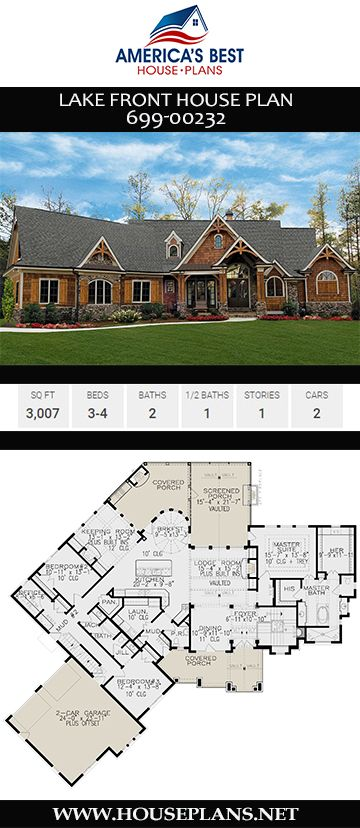 House Plan 699 00232 Lake Front Plan 3 007 Square Feet 3 4 Bedrooms 2 5 Bathrooms Lake House Plans Lake Front House Plans House Plans