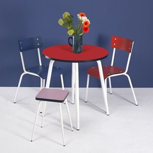 Table Ronde Style Bistrot En Formica Leon Les Gambettes Rouge