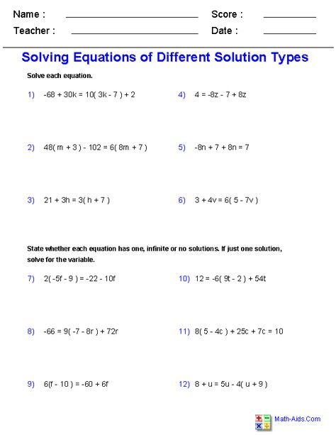 Solving Single Variable Equations Worksheets | Solving ...