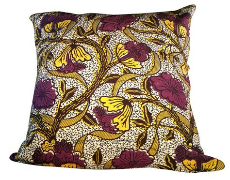 Decorative pillow cover  African fabric by Pillowsnmorethings